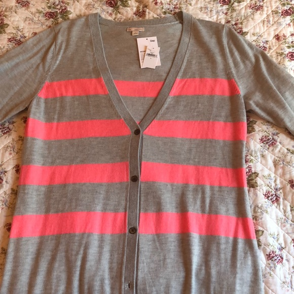GAP Jackets & Blazers - GAP pink and grey striped cardigan